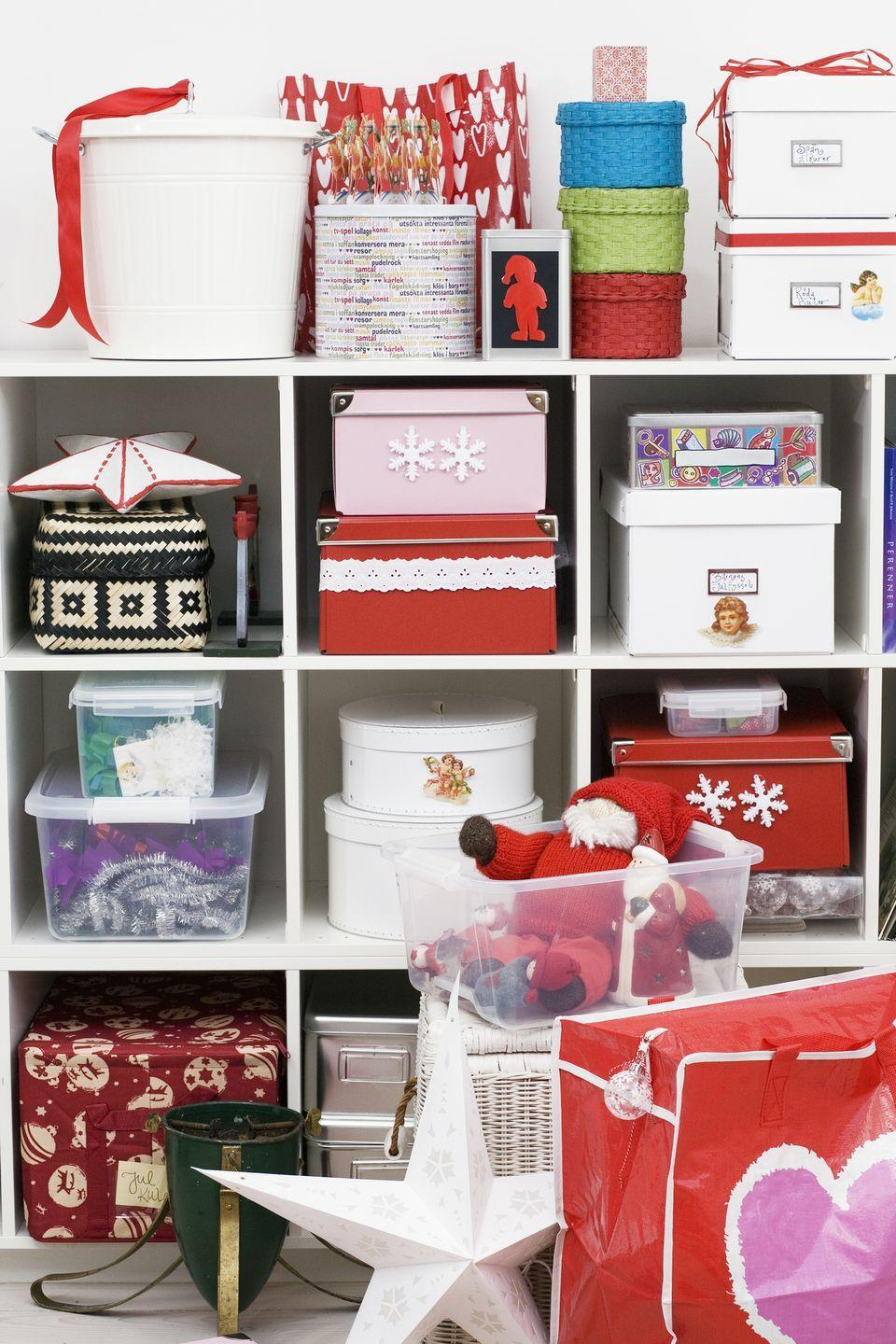 "<p>Tackle the challenge of finding a home for presents and special Christmas items by operating one simple rule: store 'like with like'. Keep all decorations in one place – attic, garage, loft – labelled for ease next year. Organise children's rooms so similar toys and games are stored together, likewise scarves, jewellery, socks and underwear.</p><p><strong>SHOP: </strong><a class=""link rapid-noclick-resp"" href=""https://www.amazon.co.uk/Storage-Boxes/b?ie=UTF8&node=3313451031&tag=hearstuk-yahoo-21&ascsubtag=%5Bartid%7C2060.g.185%5Bsrc%7Cyahoo-uk"" rel=""nofollow noopener"" target=""_blank"" data-ylk=""slk:Browse a range of storage boxes on Amazon"">Browse a range of storage boxes on Amazon</a> </p>"