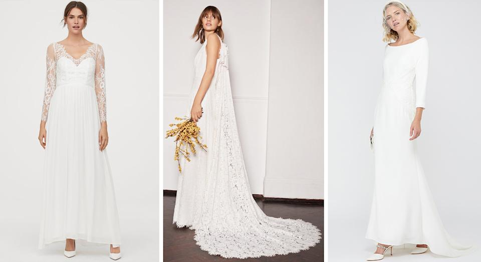 The best winter wedding dresses available to purchase now. [Photos: H&M, Whistles, Monsoon]
