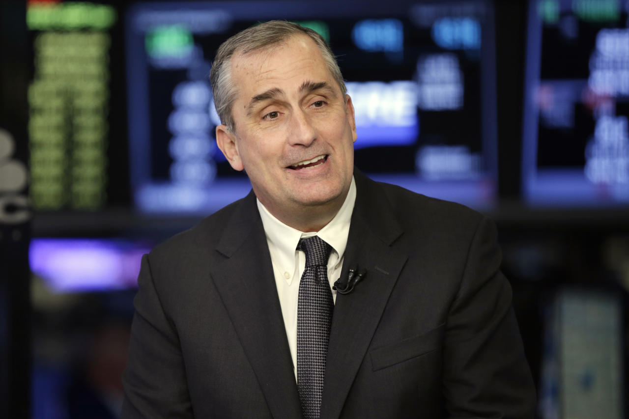 FILE- In this March 13, 2017, file photo, Intel CEO Brian Krzanich is interviewed on the floor of the New York Stock Exchange. Krzanich is resigning after the company learned of a consensual relationship that he had with an employee. Intel said Thursday, June 21, 2018, that the relationship was in violation of the company's non-fraternization policy, which applies to all managers. (AP Photo/Richard Drew, File)