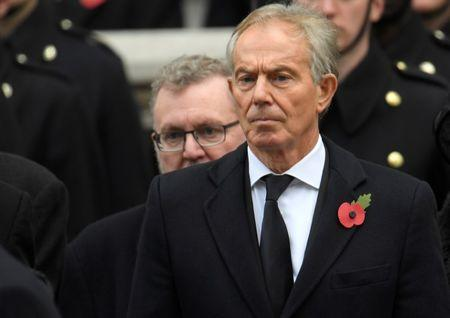 Britain's ex-PM Blair stands in silence at the Remembrance Sunday Cenotaph service in London