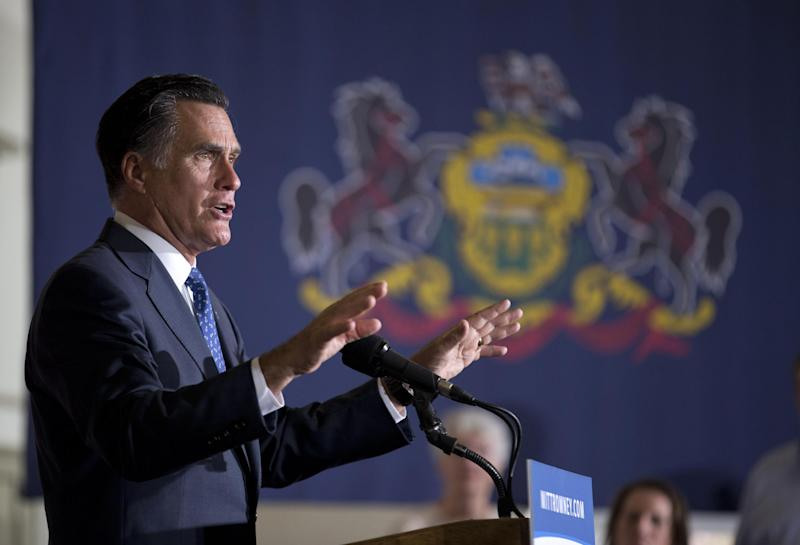 Republican presidential candidate, former Massachusetts Gov. Mitt Romney speaks during a rally at Valley Forge Military Academy and College, Friday, Sept. 28, 2012, in Wayne, Pa. (AP Photo/ Evan Vucci)