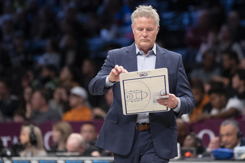 Though Elton Brand stood by coach Brett Brown on Friday, he declined to make any commitments about Brown's future with the organization. (AP/Mary Altaffer)