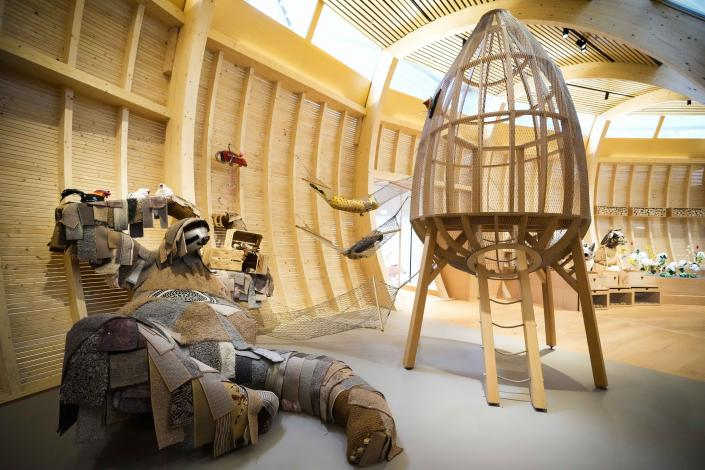 Animals that are made out of recycled material are on display at the interactive exhibit about the story of Noah's Ark, at the Jewish Museum in Berlin, Germany, Monday, June 21, 2021. The Jewish Museum of Berlin is opening a new museum for children between the ages of three and ten.(AP Photo/Markus Schreiber)