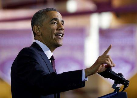 U.S. President Barack Obama speaks about the economy at Rhode Island College in Providence, Rhode Island
