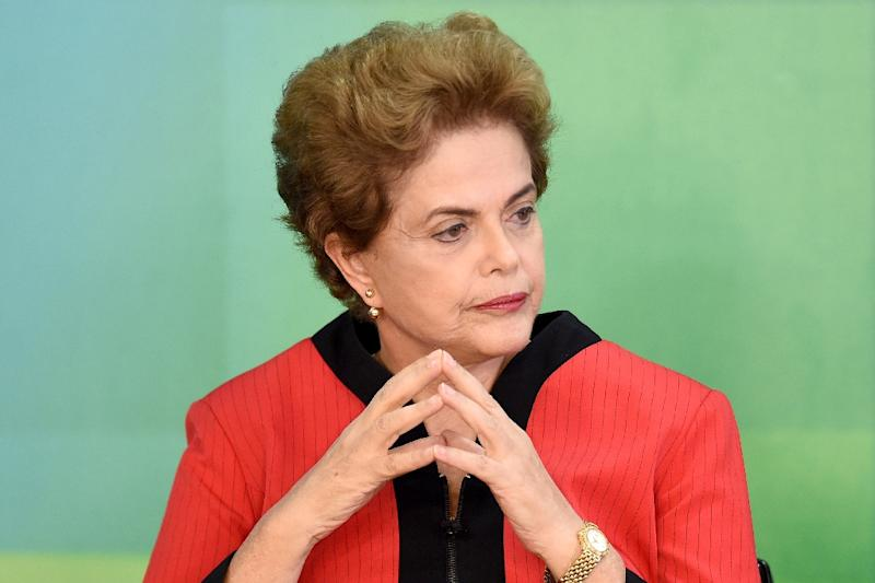 """Brazilian President Dilma Rousseff, pictured on March 2, 2016, said she would """"continue to fight"""" despite a vote in Congress to authorize impeachment proceedings against her (AFP Photo/Evaristo Sa)"""