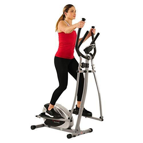 Sunny Health & Fitness SF-E905 Elliptical Machine Cross Trainer with 8 Level Resistance and Dig…
