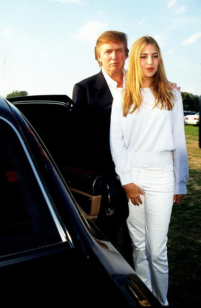 Donald Trump stands with his daughter Ivanka as they attend the Mercedes-Benz Polo Match in Bridgehampton, N.Y. (Photo: Rose Hartman/Getty Images)