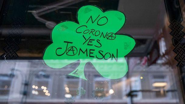 PHOTO: A St. Patrick's Day decoration celebrating Jameson Irish Whiskey hangs in the window of a bar closed on March 17, 2020 in New York City.  (Victor J. Blue/Getty Images, FILE)