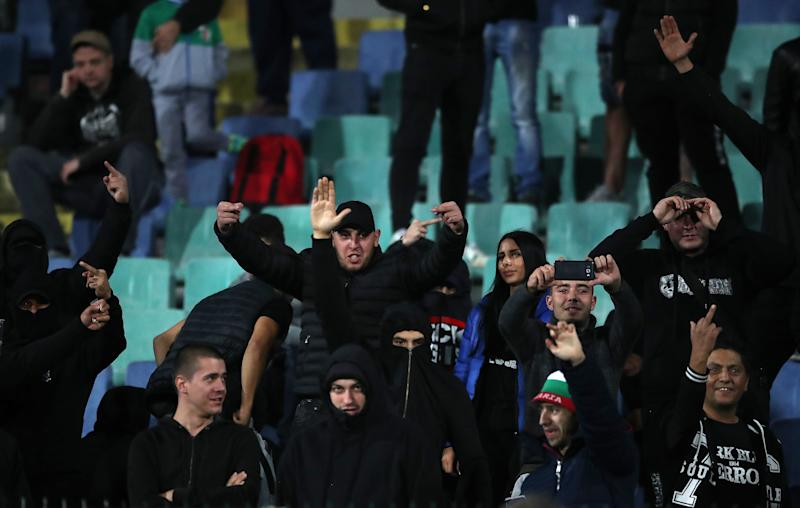 EDITORS NOTE GESTURE Bulgaria fans gesture in the stands after an announcement over the Tannoy during the UEFA Euro 2020 Qualifying match at the Vasil Levski National Stadium, Sofia, Bulgaria. (Photo by Nick Potts/PA Images via Getty Images)