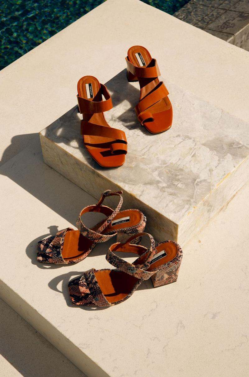 e15a48270ba55 The hero shoe in the collection is the Noah sandal with unusual straps  wrapping over the foot and toes and a really low block heel. These are £49  and come ...