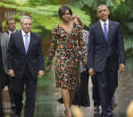 <p>To attend a state dinner hosted by Cuban President Raul Castro, Michelle Obama dressed for her surroundings in a floral print Naeem Khan midi dress. <i>Photo: AP</i></p>