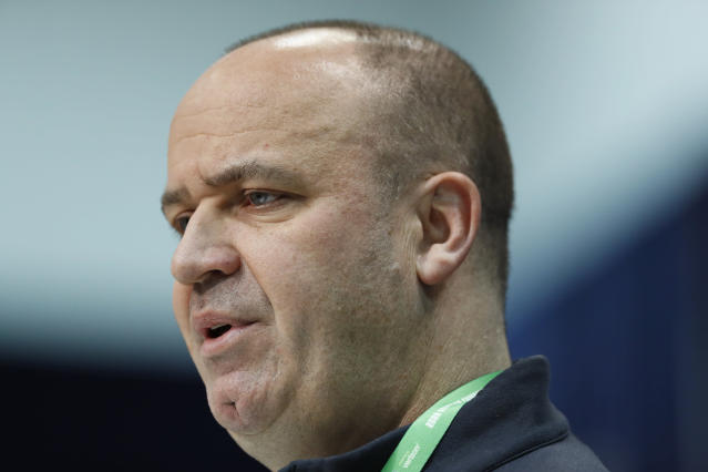Houston Texans head coach Bill O'Brien was mad about something during the third round. (AP Photo/Charlie Neibergall)