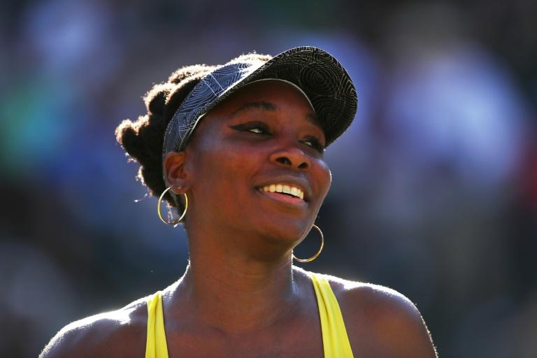 Venus Williams of the US celebrates after her BNP Paribas Open third round straight-sets victory over Lucie Safarova of the Czech Republic, at Indian Wells Tennis Garden in California, on March 13, 2017