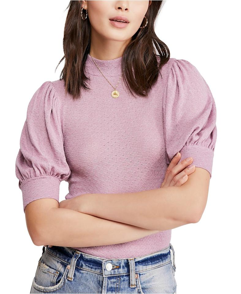 """<p>This puff-sleeve <a href=""""https://www.popsugar.com/buy?url=https%3A%2F%2Fwww.macys.com%2Fshop%2Fproduct%2Ffree-people-good-luck-top%3FID%3D10128067%26CategoryID%3D188851%23fn%3DPRICE%253D0.0%257C49.99%2526sp%253D8%2526spc%253D19172%2526ruleId%253D105%257CBOOST%2520ATTRIBUTE%257CBOOST%2520SAVED%2520SET%2526searchPass%253DmatchNone%2526slotId%253D40&p_name=Free%20People%20Good%20Luck%20Top&retailer=macys.com&price=46&evar1=fab%3Aus&evar9=46642602&evar98=https%3A%2F%2Fwww.popsugar.com%2Fphoto-gallery%2F46642602%2Fimage%2F46644292%2FFree-People-Good-Luck-Top&list1=shopping%2Cfall%20fashion%2Cmacys%2C50%20under%20%2450%2Caffordable%20shopping&prop13=api&pdata=1"""" rel=""""nofollow"""" data-shoppable-link=""""1"""" target=""""_blank"""" class=""""ga-track"""" data-ga-category=""""Related"""" data-ga-label=""""https://www.macys.com/shop/product/free-people-good-luck-top?ID=10128067&amp;CategoryID=188851#fn=PRICE%3D0.0
