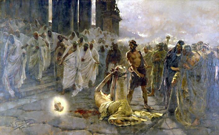 <p>Scapegoating a minority: Nero was a divisive ruler who persecuted Rome's Christian minority. This 19th-century painting, by the Spanish artist Enrique Simonet, portrays the execution of St Paul after the emperor had blamed the Great Fire on the Christians.</p>Public Domain