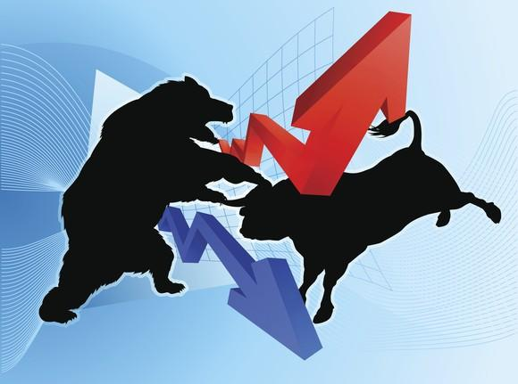 A bull and a bear fighting.