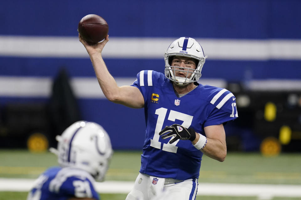 Indianapolis Colts quarterback Philip Rivers (17) throws to Nyheim Hines (21) during the first half of an NFL football game against the Jacksonville Jaguars, Sunday, Jan. 3, 2021, in Indianapolis. (AP Photo/Michael Conroy)