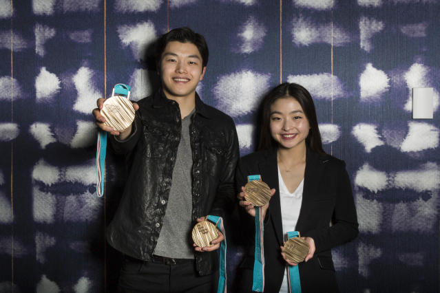 Alex and Maia Shibutani with their bronze medals from the Winter Games in Pyeongchang, South Korea. (Gabriela Landazuri Saltos HuffPost)