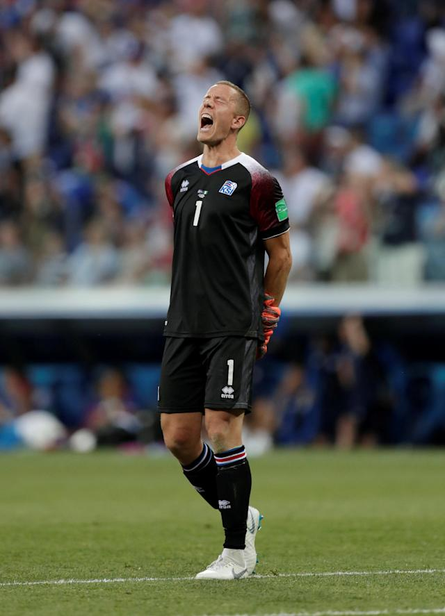 Soccer Football - World Cup - Group D - Nigeria vs Iceland - Volgograd Arena, Volgograd, Russia - June 22, 2018 Iceland's Hannes Halldorsson reacts REUTERS/Ueslei Marcelino TPX IMAGES OF THE DAY