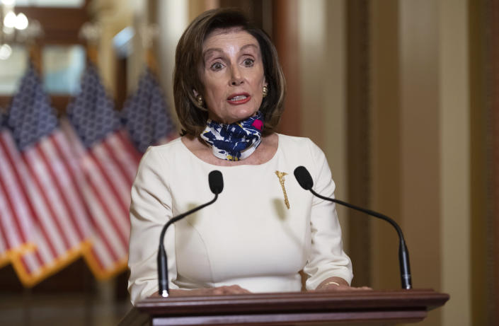 """House Speaker Nancy Pelosi of Calif., speaks about the so-called Heroes Act, Tuesday, May 12, 2020 on Capitol Hill in Washington. Pelosi unveiled a more than $3 trillion coronavirus aid package Tuesday, providing nearly $1 trillion for states and cities, """"hazard pay"""" for essential workers and a new round of cash payments to individuals. (Saul Loeb/Pool via AP)"""