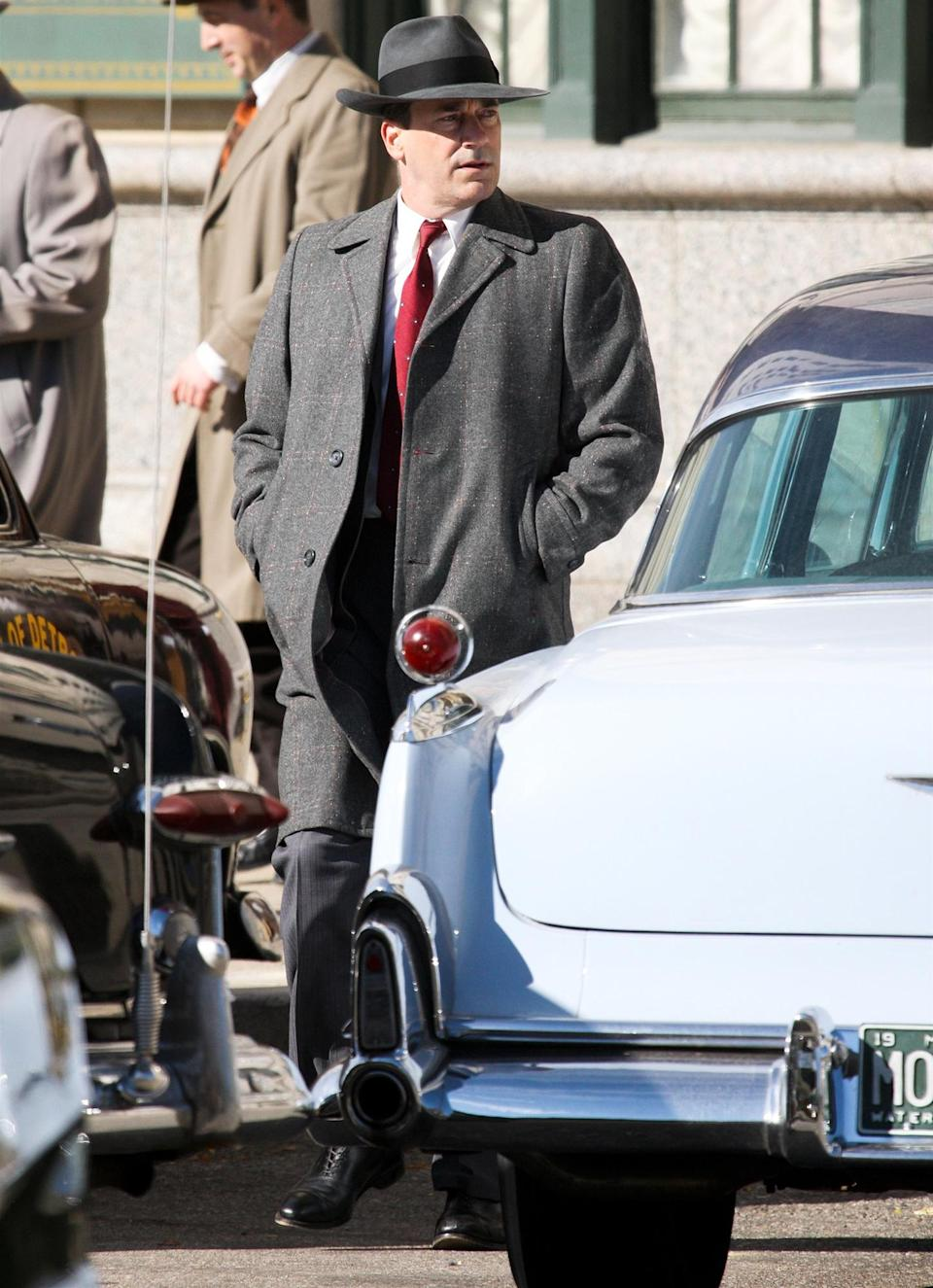 <p>Jon Hamm is seen in full character filming <em>No Sudden Move</em> in Detroit, Michigan on Monday.</p>