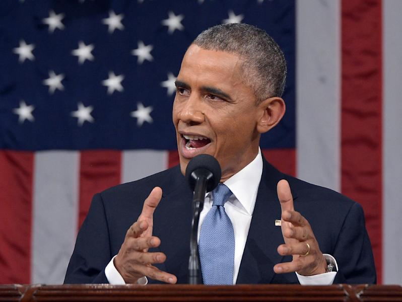 US President Barack Obama delivers the State of The Union address on January 20, 2015, at the US Capitol in Washington, DC (AFP Photo/Mandel Ngan)