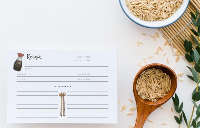 """If you have a friend who loves cooking, these cute recipe cards will definitely be used &mdash; hopefully on you! <a href=""""https://www.gotamago.com/collections/all-products/products/asian-seasonings-recipe-card-pack"""" target=""""_blank"""" rel=""""noopener noreferrer"""">Get it for $20 at Gotamago.</a>"""