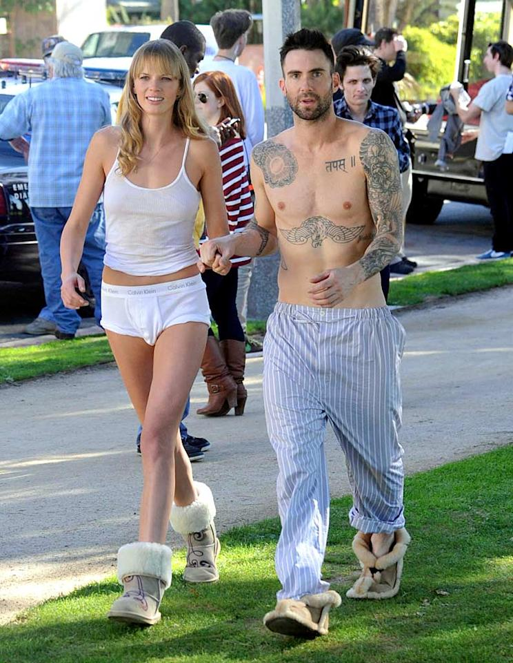"""Taking a break on the Santa Monica set, the Maroon 5 singer tweeted, """"This video feels special. There's something really bold and exciting about it."""" Are you psyched to see Adam's new video? London Entertainment/<a href=""""http://www.splashnewsonline.com"""" target=""""new"""">Splash News</a> - January 11, 2011"""