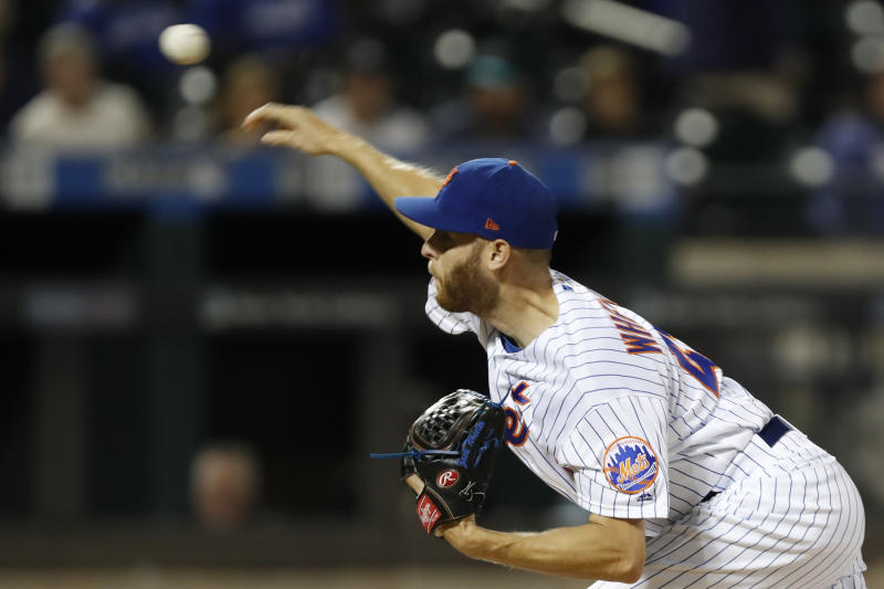 New York Mets starting pitcher Zack Wheeler delivers during the first inning of the team's baseball game against the Miami Marlins, Thursday, Sept. 26, 2019, in New York. (AP Photo/Kathy Willens)