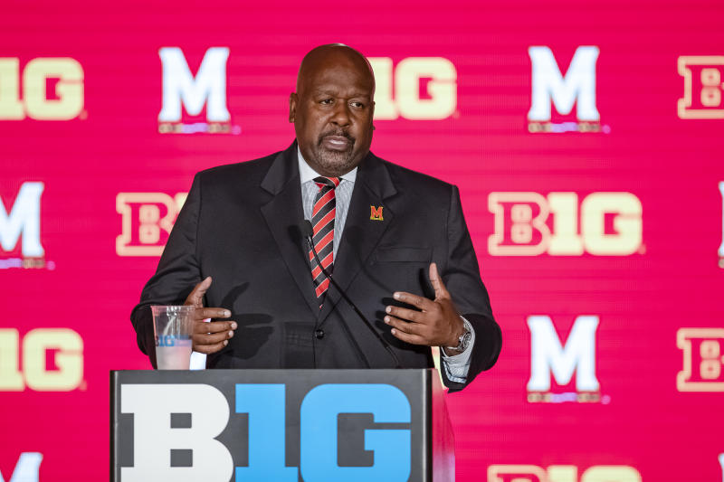 CHICAGO, IL - JUL 18: Marylands Terapins head coach Michael Locksley is seen at Big Ten football media days on July 18, 2019 in Chicago, Illinois. (Photo by Michael Hickey/Getty Images)