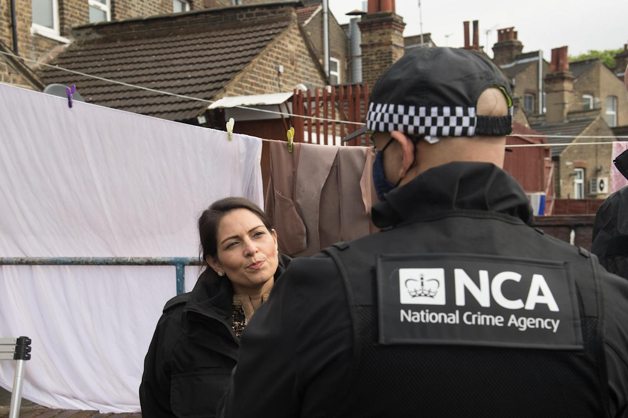 Home Secretary Priti Patel used her attendance at the arrest to promote her