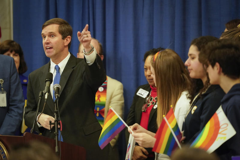Kentucky Gov. Andy Beshear speaks at a rally held by Fairness Campaign to advance LGBTQ rights, Wednesday, Feb. 19, 2020, in the Rotunda at the State Capitol in Frankfort, Ky. (AP Photo/Bryan Woolston)