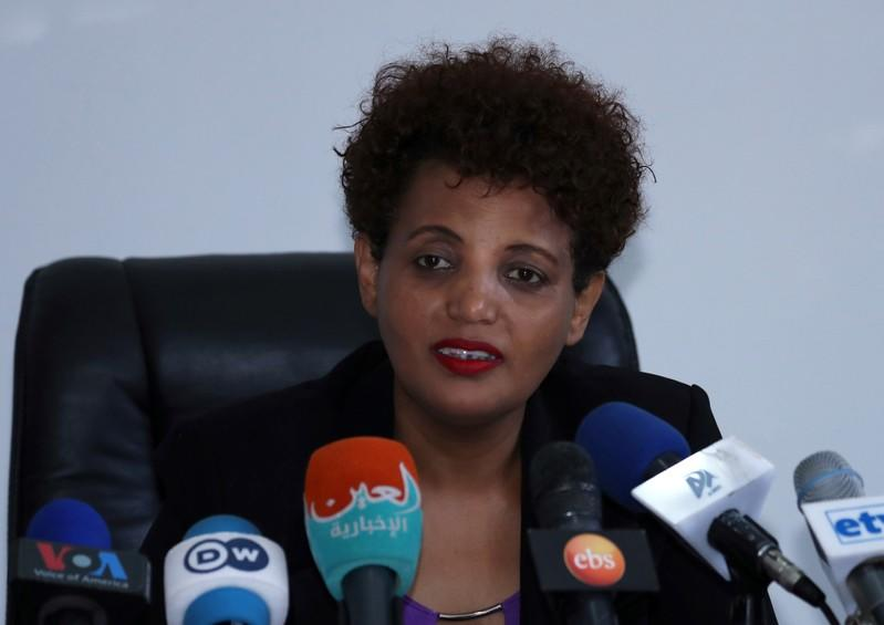 Birtukan Mideksa, chairperson of the National Electoral Board of Ethiopia speaks during a news conference on the case of the preparation of the Sidama referendum vote in Hawassa