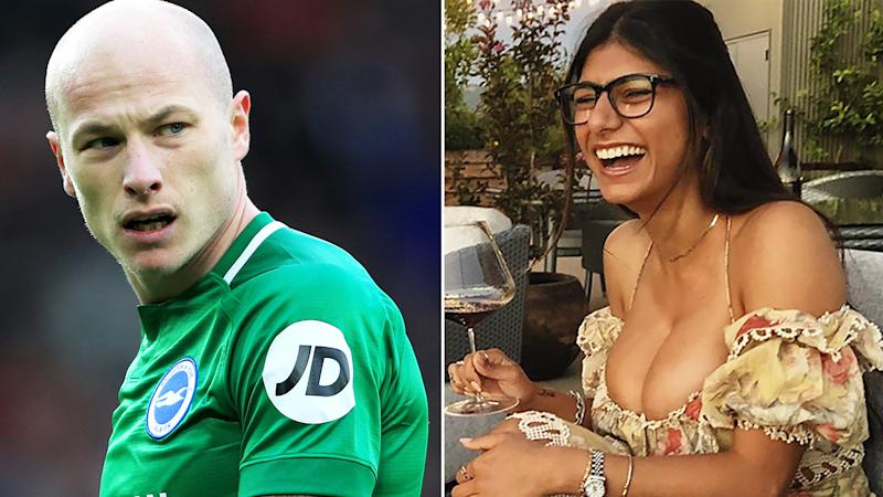 A 50-50 split image shows Aaron Mooy on the left and Mia Khalifa on the right.