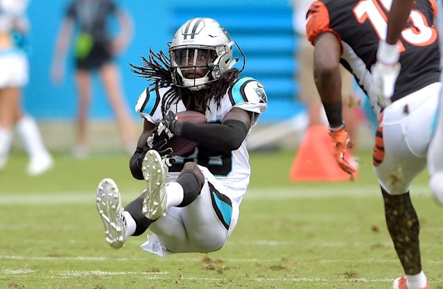 <p>Carolina Panthers' Donte Jackson (26) intercepts a pass against the Cincinnati Bengals during the second half of an NFL football game in Charlotte, N.C., Sunday, Sept. 23, 2018. (AP Photo/Mike McCarn) </p>