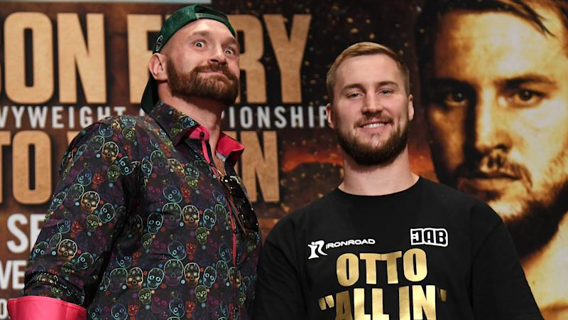 LAS VEGAS, NEVADA - SEPTEMBER 11: Boxers Tyson Fury (L) and Otto Wallin joke around as they pose during a news conference at MGM Grand Hotel & Casino on September 11, 2019 in Las Vegas, Nevada. The two will meet in a heavyweight bout on September 14 at T-Mobile Arena in Las Vegas. (Photo by Ethan Miller/Getty Images)