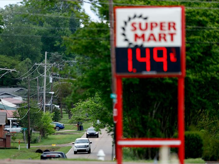 Gas prices at a gas station in Pearl, Mississippi on March 31.