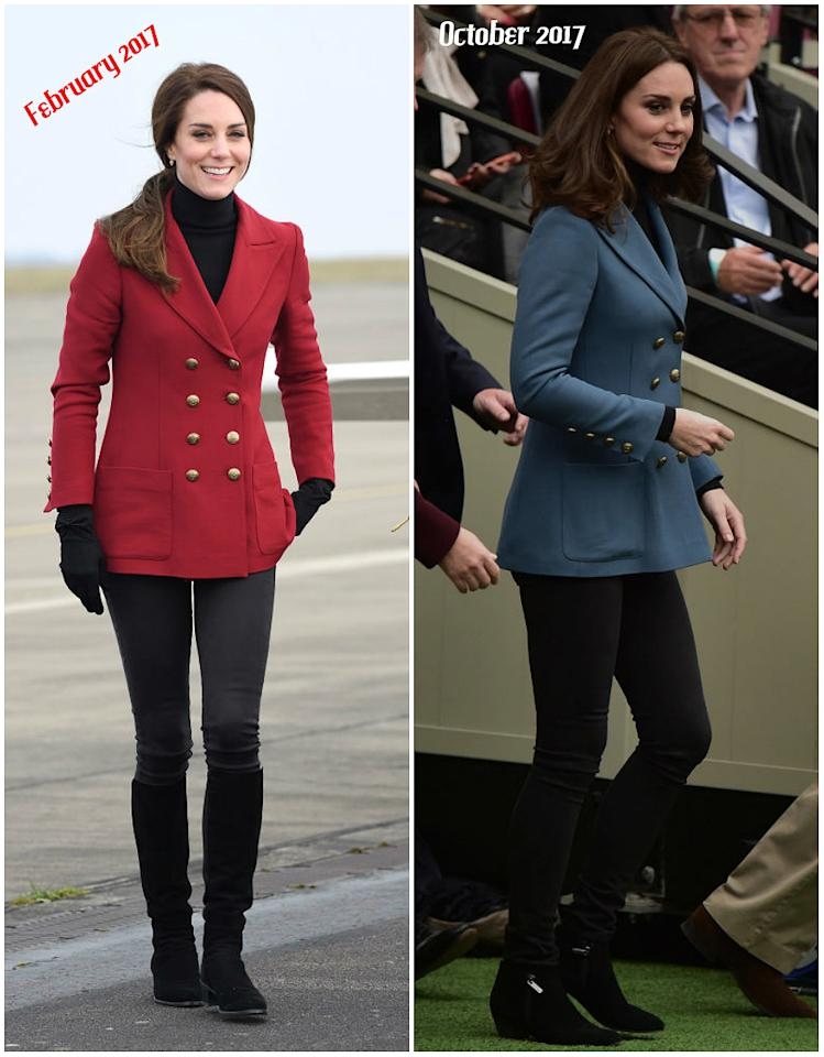 <p><strong>When: October 18, 2017</strong><br />If the blue blazer Kate wore at the Coach Core graduation looks familiar, it's because the Duchess rocked a burgundy red version of the blazer at a February 2017 Air Cadets event.<br /><em>[Photos: Getty]</em> </p>