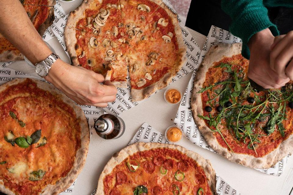 """<p>With just eight pizzas on the menu - and all at £5 a pop - Roma pizza means business. </p><p>On London's iconic Brick Lane, this is a great option for when you need a mid-shopping pick me up. All the pizzas are 'fast & thin' 12 inches and the menu includes the Hot Pepperoni and Mushroom & Truffle.</p><p>If you're feeling adventurous, order one of the dips. We're fans of the spicy paprika mayo. </p><p>Address: 224 Brick Lane, London E1 6SA <br></p><p><strong>Click <a href=""""https://www.romapizzaldn.com"""" rel=""""nofollow noopener"""" target=""""_blank"""" data-ylk=""""slk:here"""" class=""""link rapid-noclick-resp"""">here</a> for more information.</strong></p>"""