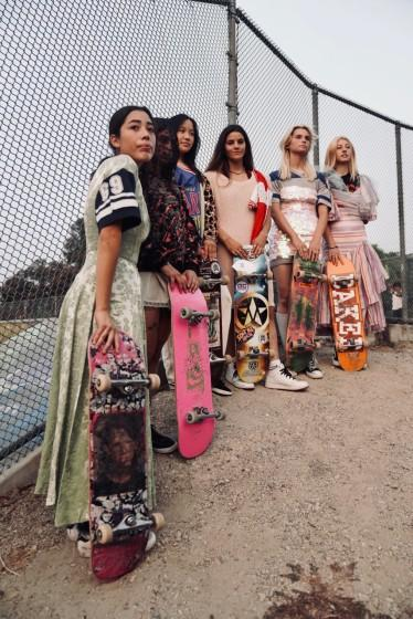 """A crew of female skaters modeled the latest collection of Tara Subkoff's label Imitation of Christ. <span class=""""copyright"""">(Amanda Demme)</span>"""