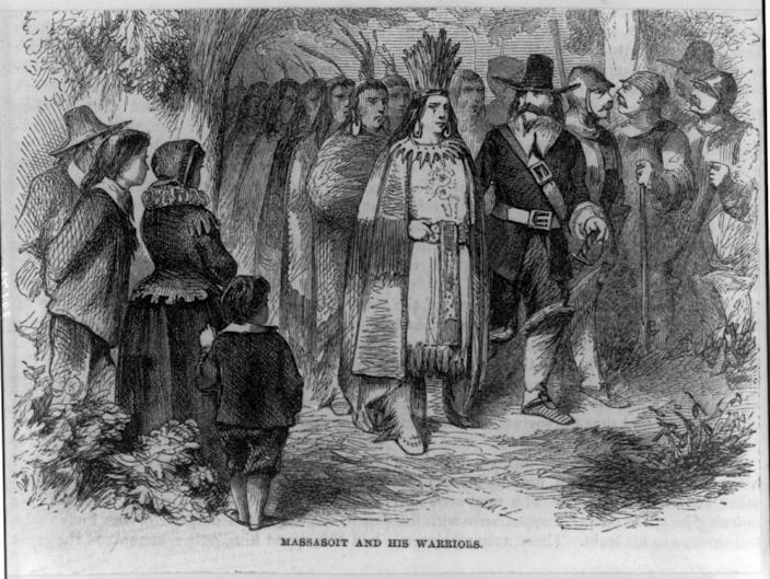 This  sketch depicts a meeting between Massasoit Ousamequin, Grand Sachem of the Wampanoag, and Pilgrim leader Gov. William Bradford. The pair negotiated an agreement that allowed the Pilgrims to settle in Patuxet, now Plymouth.