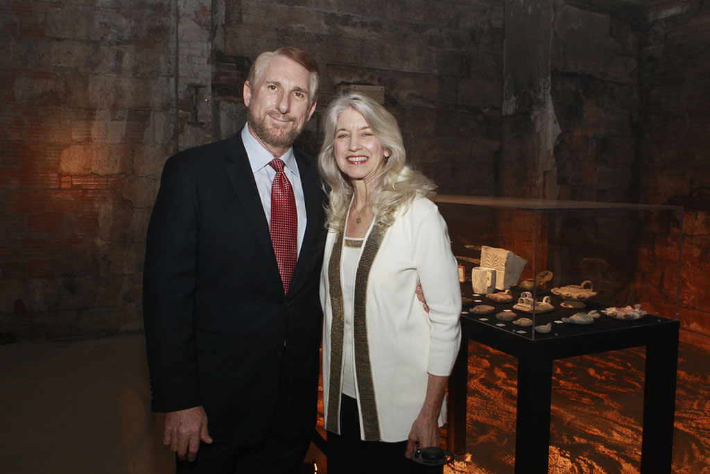 "Professor Randall Price and wife at ""The Bible Experience"" opening night gala, a rare exhibit of biblical artifacts, in New York City on Tuesday, March 19 in New York."
