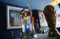 A fan is pictured at the first Mexico's church in memory of soccer legend Diego Armando Maradona in San Andres Cholula