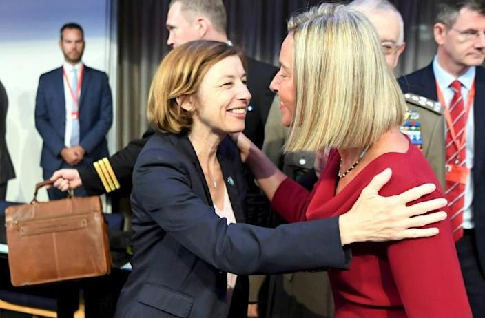 French Defence Minister Florence Parly and EU diplomatic chief Federica Mogherini at a meeting in Helsinki (AFP Photo/Jussi Nukari)