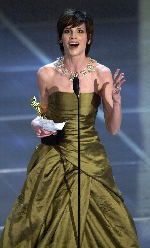 "A lot of people have forgotten to thank a loved one, colleague, or mentor in their acceptance speeches, but few have taken as much grief for it publicly as Hilary Swank. When the actress won the Best Actress Oscar for ""Boys Don't Cry"" in 2000, she forgot to thank husband Chad Lowe. When she won again in 2005 for ""Million Dollar Baby,"" she immediately made amends: ""I am going to start by thanking my husband because I'd like to think I learn from past mistakes."" Swank and Lowe divorced in 2006."