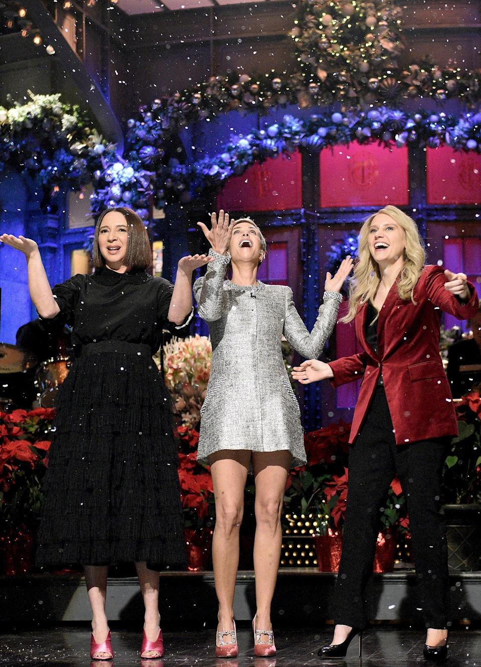 WHO: Kristen Wiig<br> WHAT: Azzaro by Olivier Theyskens <br> WHERE: <em>Saturday Night Live</em><br> WHEN: December 19