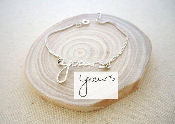 """<p><strong>CaitlynMinimalist</strong></p><p>etsy.com</p><p><strong>$27.75</strong></p><p><a href=""""https://go.redirectingat.com?id=74968X1596630&url=https%3A%2F%2Fwww.etsy.com%2Flisting%2F209384686%2Fhandwriting-bracelet-custom-actual&sref=https%3A%2F%2Fwww.countryliving.com%2Fshopping%2Fgifts%2Fg1416%2Fvalentines-day-gifts%2F"""" rel=""""nofollow noopener"""" target=""""_blank"""" data-ylk=""""slk:Shop Now"""" class=""""link rapid-noclick-resp"""">Shop Now</a></p><p>She can wear a love letter around her wrist thanks to this beautiful bracelet that you can get customized with your own handwriting.</p>"""