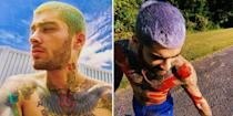 <p>Zayn's highlighter hair lives to see another day, but he's dropped his bright green for a neon lavender shade. He looks like every cartoon character I crushed on as a child. </p>