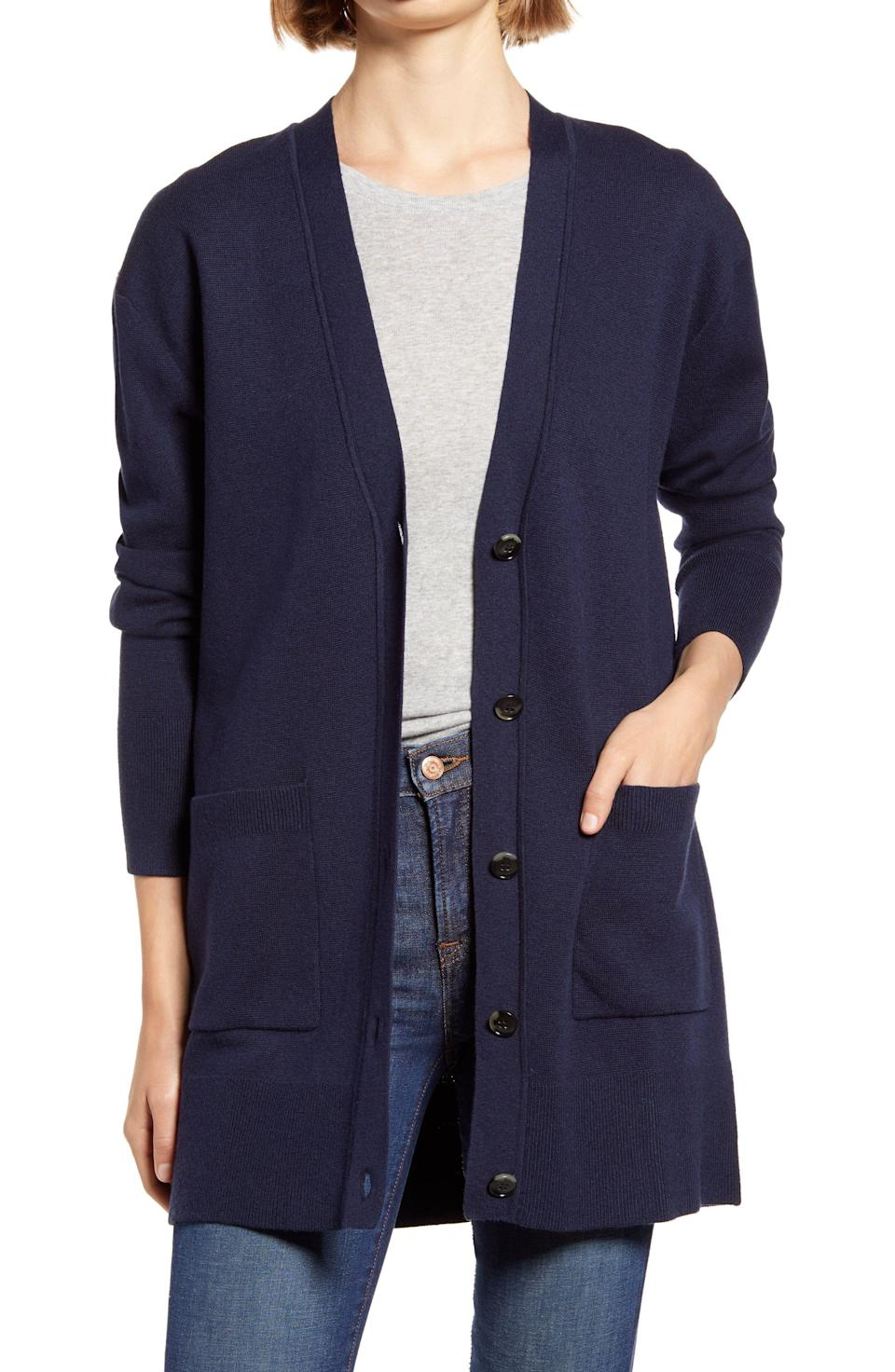 """<p><strong>J.CREW</strong></p><p>nordstrom.com</p><p><strong>$78.90</strong></p><p><a href=""""https://go.redirectingat.com?id=74968X1596630&url=https%3A%2F%2Fwww.nordstrom.com%2Fs%2Fj-crew-v-neck-long-cardigan-regular-plus-size-nordstrom-exclusive%2F5579292&sref=https%3A%2F%2Fwww.goodhousekeeping.com%2Fclothing%2Fg33473194%2Ftransitional-clothing-summer-to-fall%2F"""" rel=""""nofollow noopener"""" target=""""_blank"""" data-ylk=""""slk:Shop Now"""" class=""""link rapid-noclick-resp"""">Shop Now</a></p><p>If there's anything that's an essential summer-to-fall wardrobe piece, it's the reliable (and super cozy!) cardigan. Just throw it on over a cami, tee, or dress and watch it instantly transition your outfit to a fall-ready look.</p><p><strong>RELATED:</strong> <a href=""""https://www.goodhousekeeping.com/beauty/fashion/g33275801/cute-fall-outfits/"""" rel=""""nofollow noopener"""" target=""""_blank"""" data-ylk=""""slk:20 Cute Fall Outfits That Will Keep Your Warm, Cozy, and Stylish"""" class=""""link rapid-noclick-resp"""">20 Cute Fall Outfits That Will Keep Your Warm, Cozy, and Stylish</a></p>"""