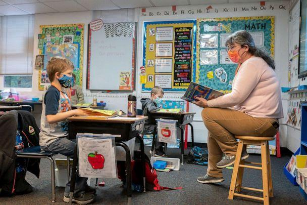 PHOTO: First grade students practice their reading skills at the Green Mountain School on Feb. 18, 2021 in Woodland, Washington. (Nathan Howard/Getty Images, FILE)